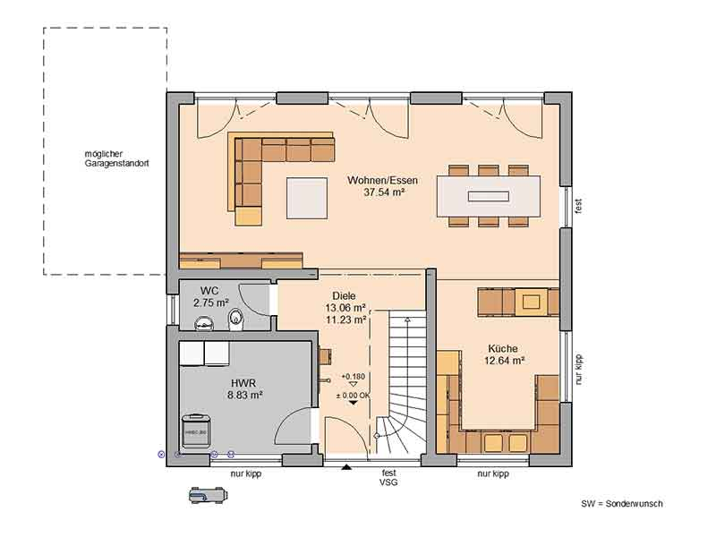 Grundriss Erdgeschoss Familienhaus Trend von Kern-Haus