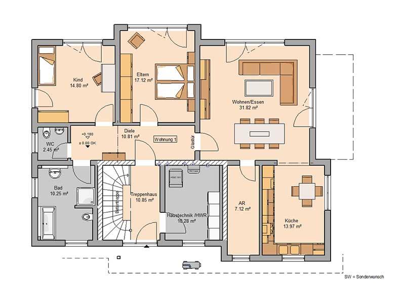 Grundriss Erdgeschoss Haus Extend von Kern-Haus