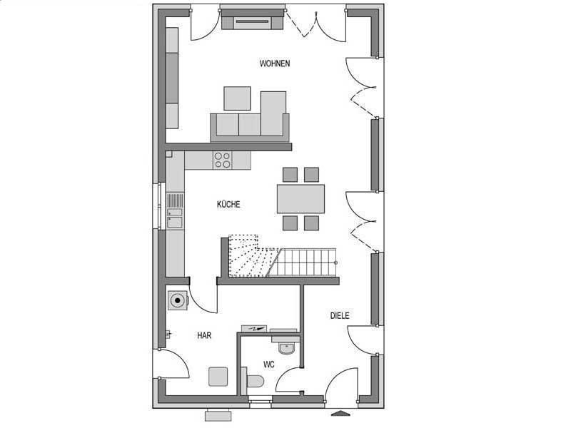 Grundriss Erdgeschoss Doppelhaus L10 Putz von Heinz von Heiden