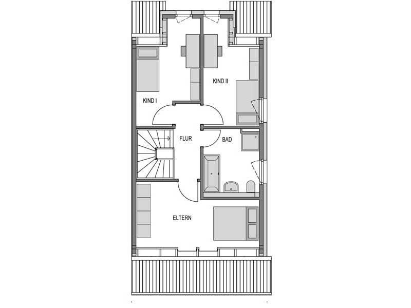 Grundriss Obergeschoss Doppelhaus R10 Verblender von Heinz von Heiden