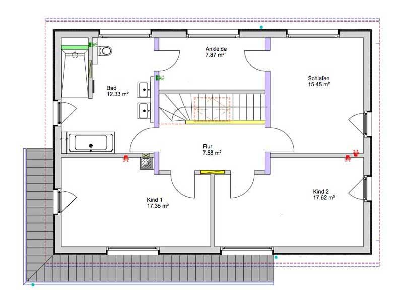 Grundriss Dachgeschoss Kundenhaus Gruensfeld von Bittermann und Weiss