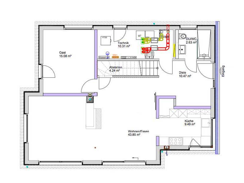 Grundriss Erdgeschoss Kundenhaus Gruensfeld von Bittermann und Weiss