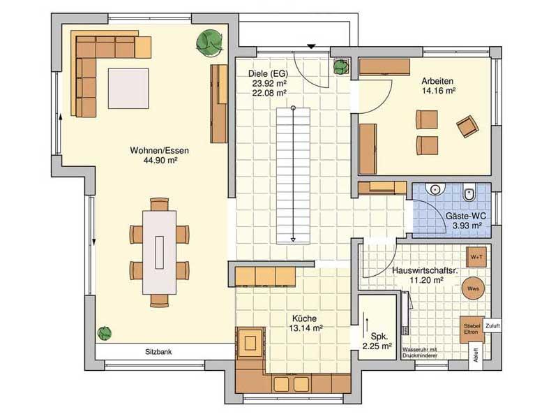 Grundriss Erdgeschoss Musterhaus Bad Vilbel von Fingerhut Haus
