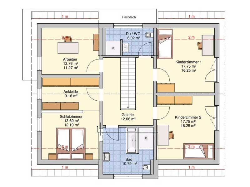 Grundriss Obergeschoss Musterhaus Bad Vilbel von Fingerhut Haus