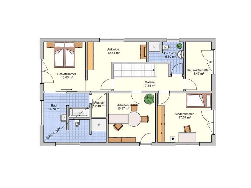 Grundriss Obergeschoss Entwurf Arbaro von Fingerhut Haus