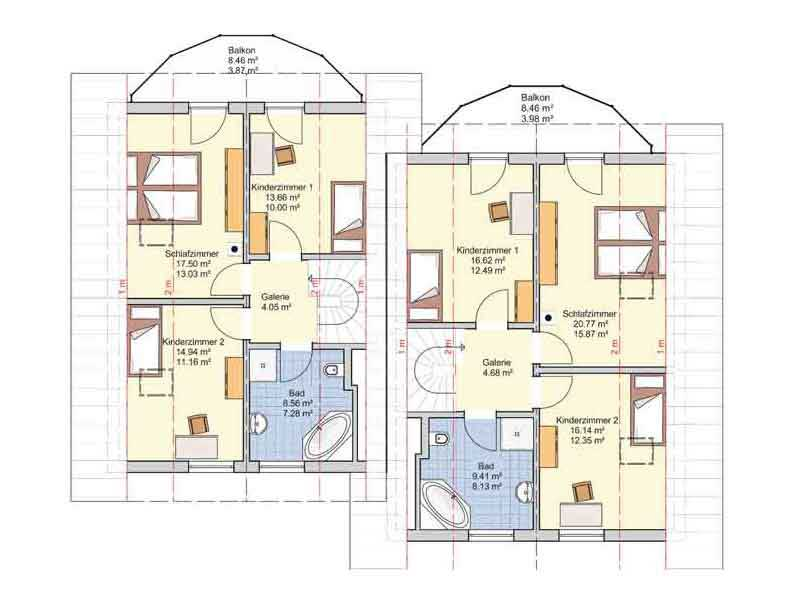 Grundriss Dachgeschoss Doppelhaus Duett 139 von Fingerhuthaus