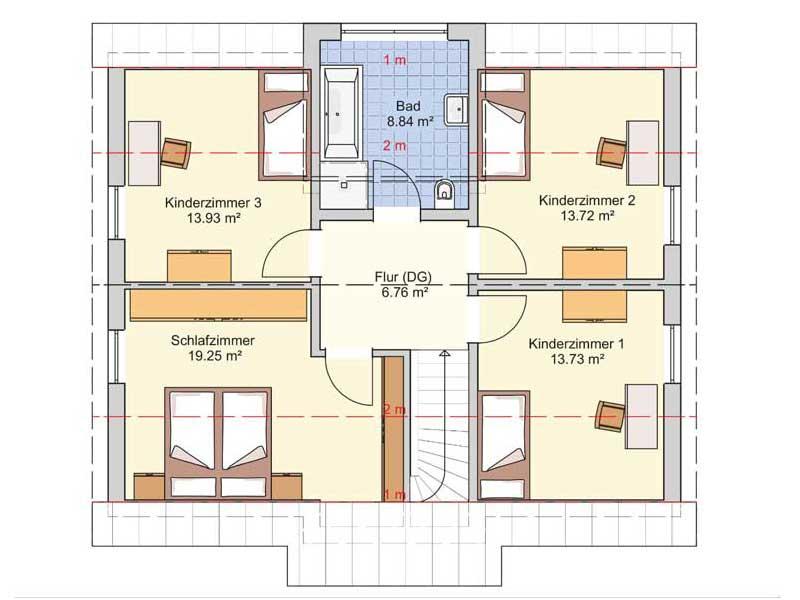Grundriss Dachgeschoss Entwurf München von Fingerhut Haus
