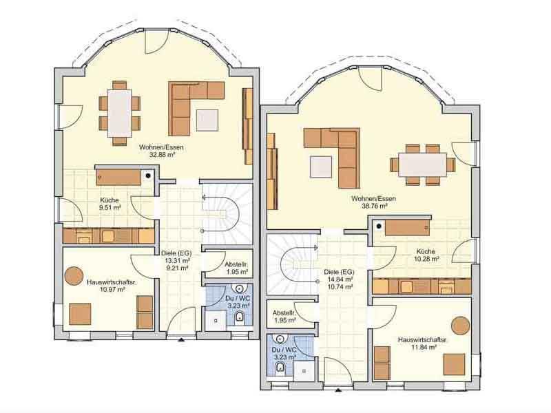 Grundriss Erdgeschoss Doppelhaus Duett 139 von Fingerhuthaus