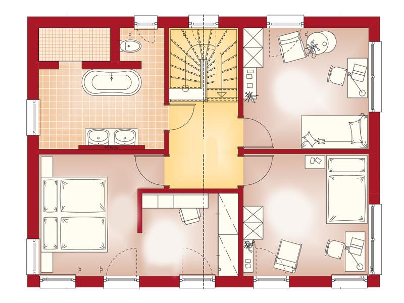 Grundriss Obergeschoss Familienhaus Jäger von Bien-Zenker