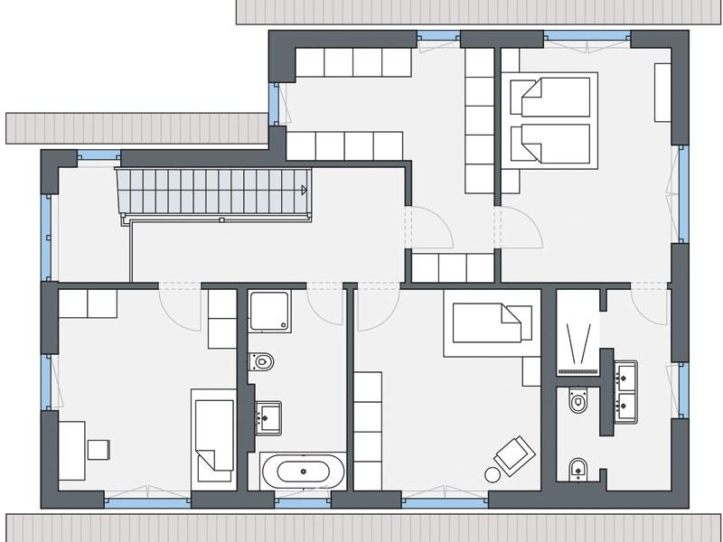 Grundriss Obergeschoss Haus Greve von Weberhaus