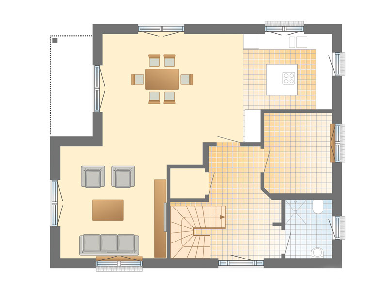 Grundriss Erdgeschoss Haus Solitüde von Danhaus