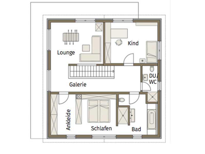 Grundriss Obergeschoss Musterhaus Relax von Fertighause Weiss