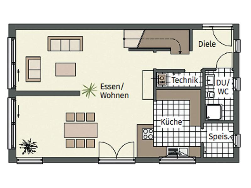 Grundriss Erdgeschoss Entwurf Kofelblick von Keitel Haus