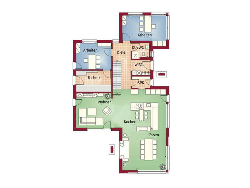 Grundriss Erdgeschoss Musterhaus Concept-M Erlangen von Bien-Zenker
