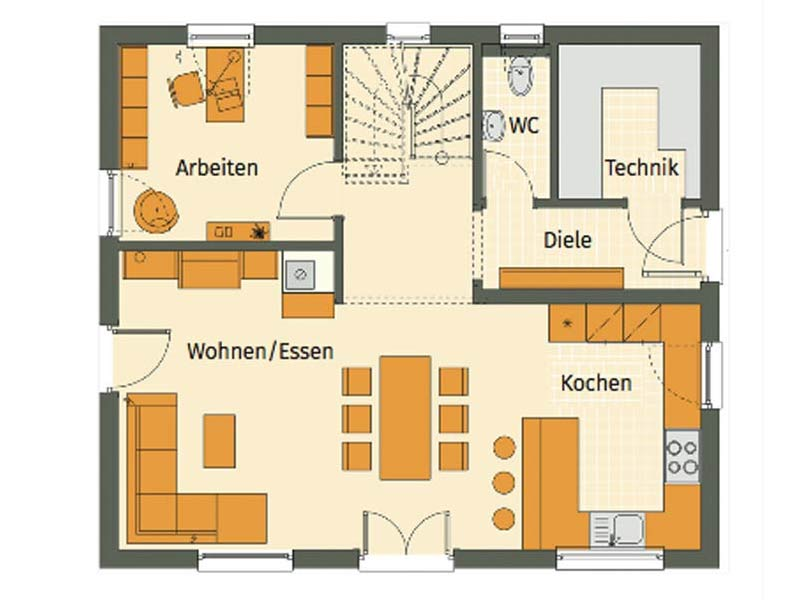 Grundriss Erdgeschoss individuelle Planung Mikula von Living Haus