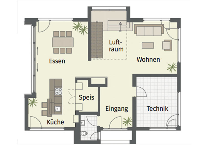 Grundriss Erdgeschoss Musterhaus Fellbach von Keitel Haus