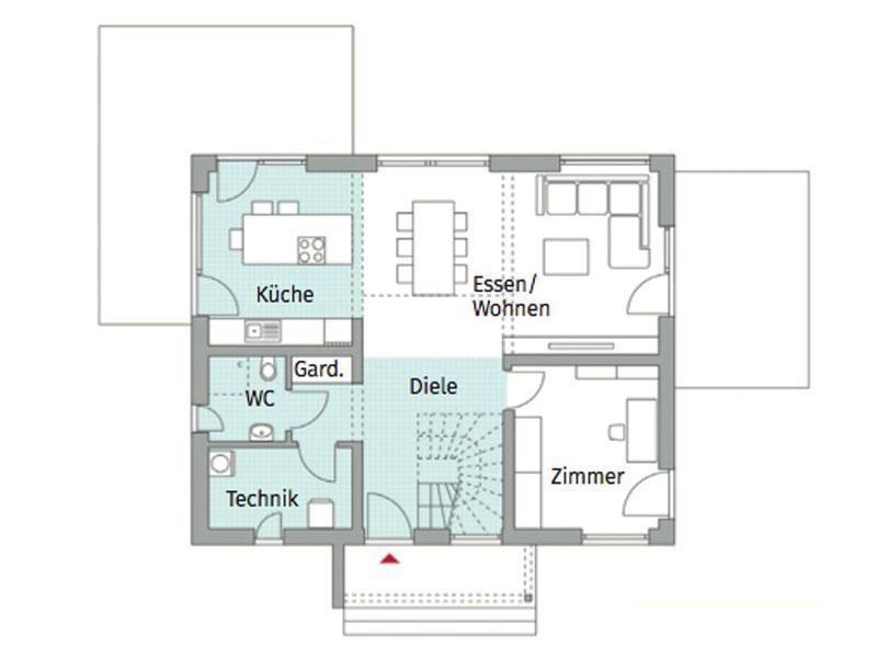 Grundriss Erdgeschoss Point 140 von Danwood
