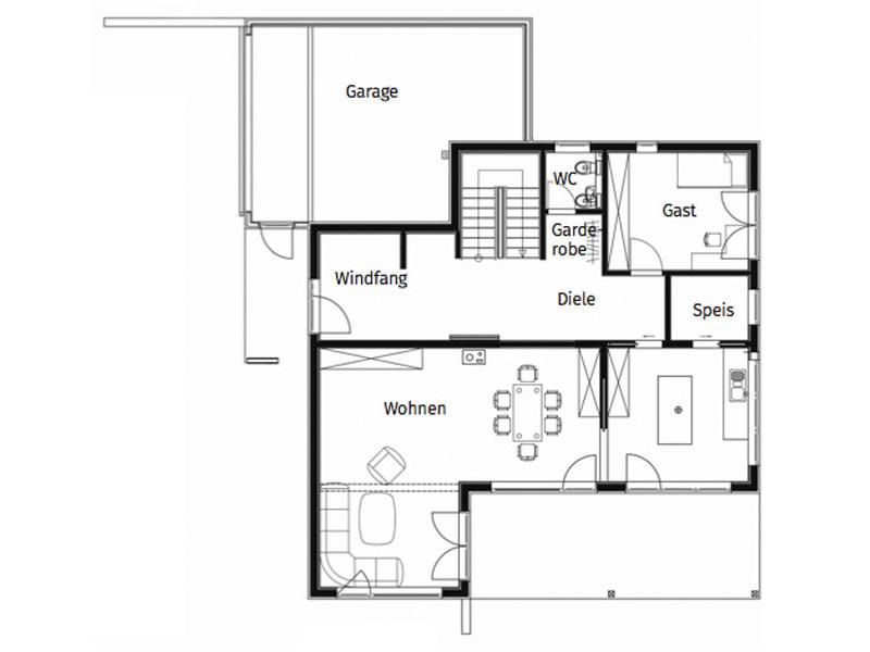 Grundriss Erdgeschoss Haus Felderer von Sonnleitner