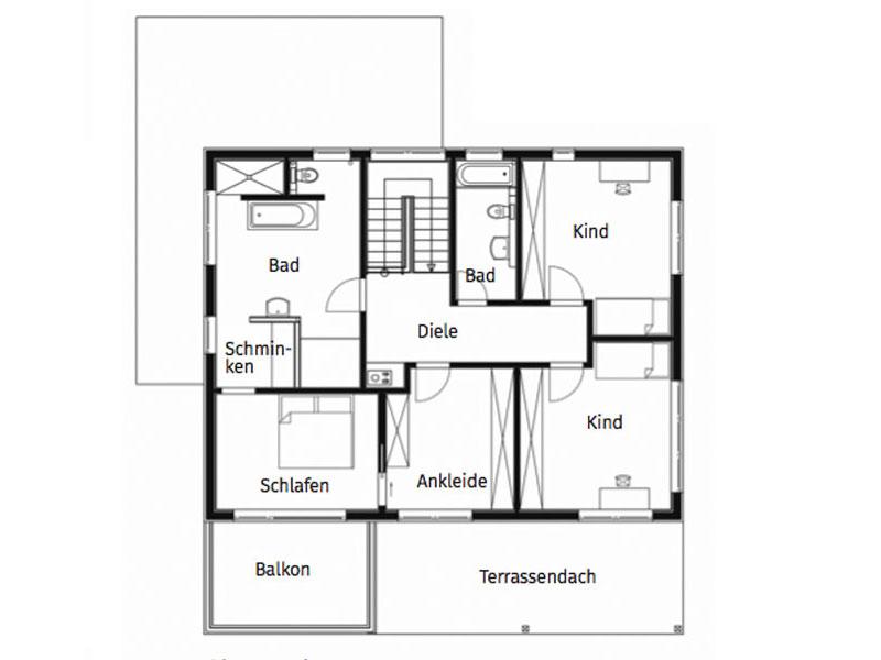Grundriss Obergeschoss Haus Felderer von Sonnleitner