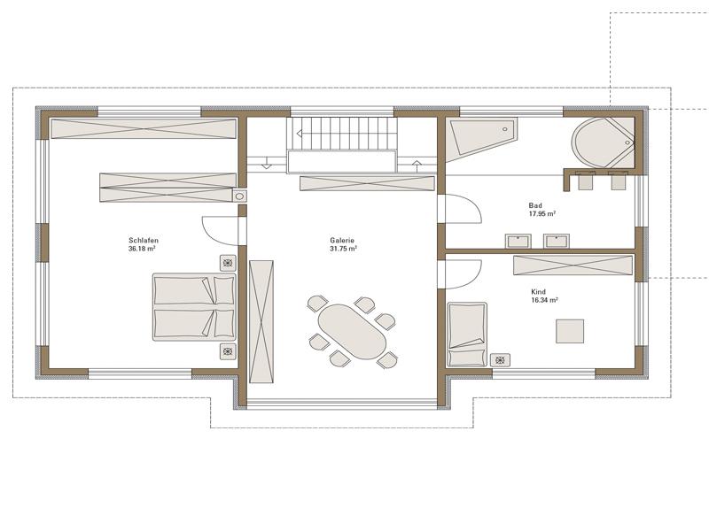 Grundriss Obergeschoss Musterhaus Style von Fertighaus Weiss