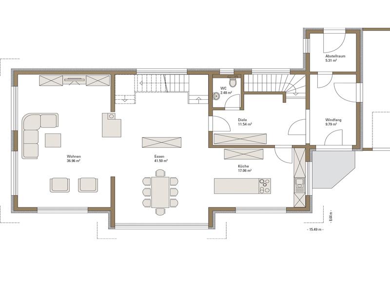 Grundriss Erdgeschoss Musterhaus Style von Fertighaus Weiss