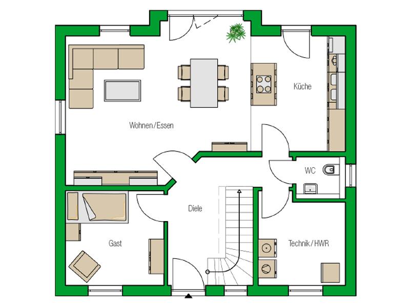 Einfamilienhaus Bari von Helma. Grundriss Erdgeschoss