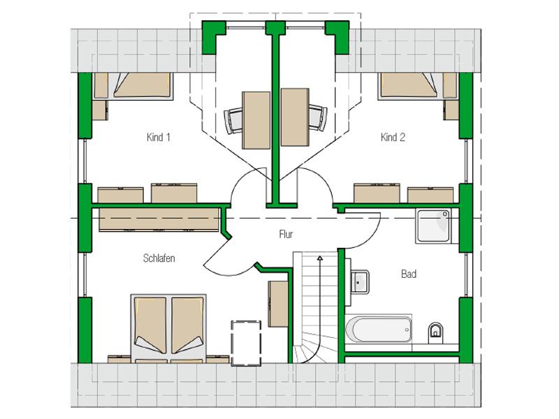 Einfamilienhaus Bari von Helma. Grundriss Obergeschoss
