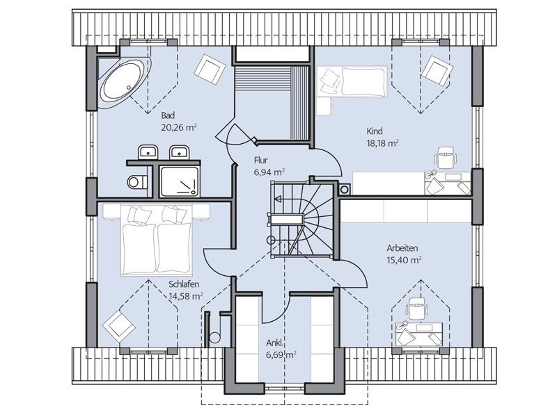 Haus Denker von Baumeister-Haus. Grundriss Obergeschoss