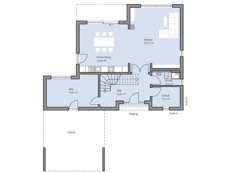 Haus Cornelius von Baumeister-Haus. Grundriss Erdgeschoss