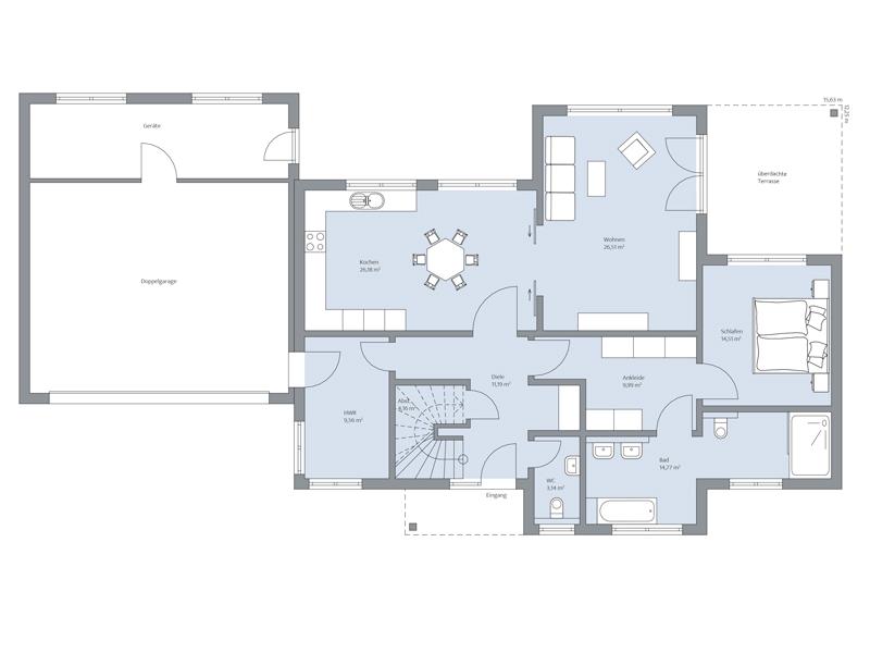 Haus Elberfeld von Baumeister-Haus. Grundriss Erdgeschoss