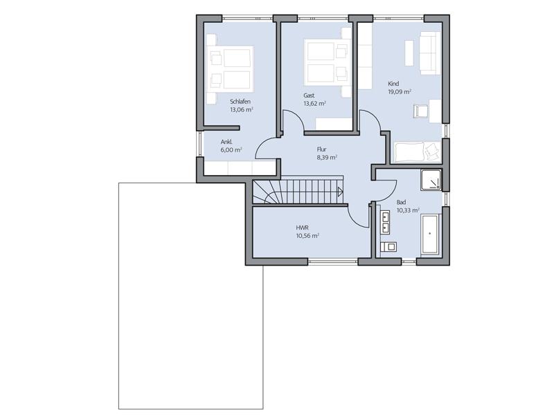 Haus Cornelius von Baumeister-Haus. Grundriss Obergeschoss