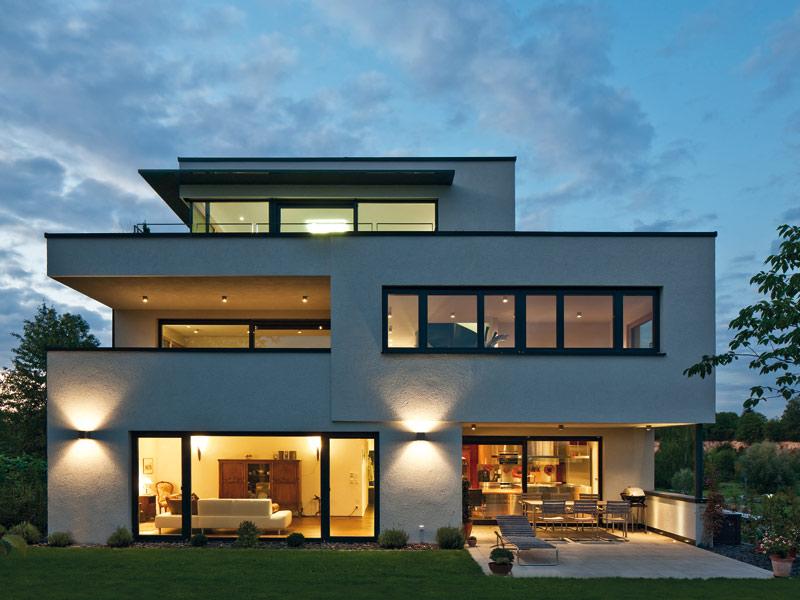 Haus Collmann von Baumeister-Haus. Außen bei Nacht