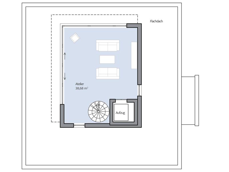 Haus Collmann von Baumeister-Haus. Grundriss Dachgeschoss