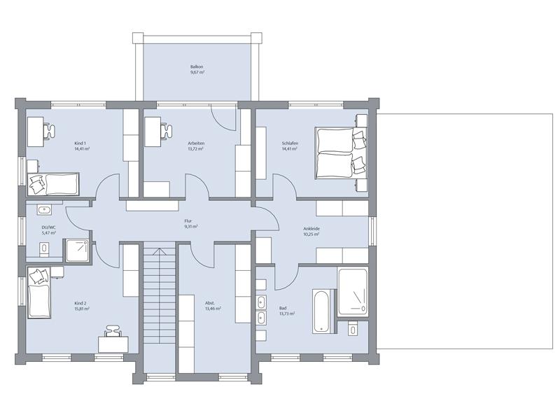 Haus Dorn von Baumeister-Haus. Grundriss Obergeschoss