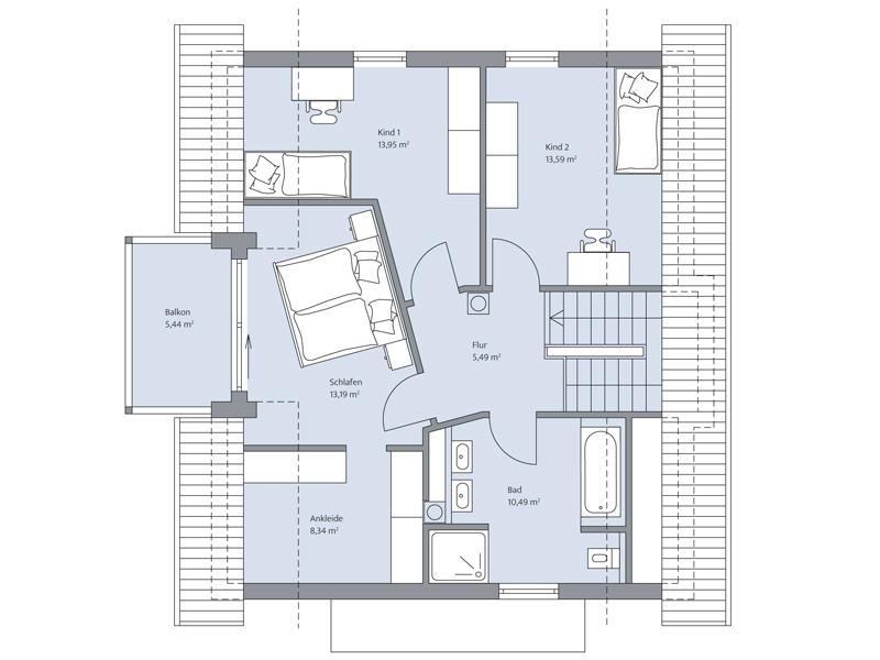 Haus Echterkamp von Baumeister-Haus. Grundriss Obergeschoss