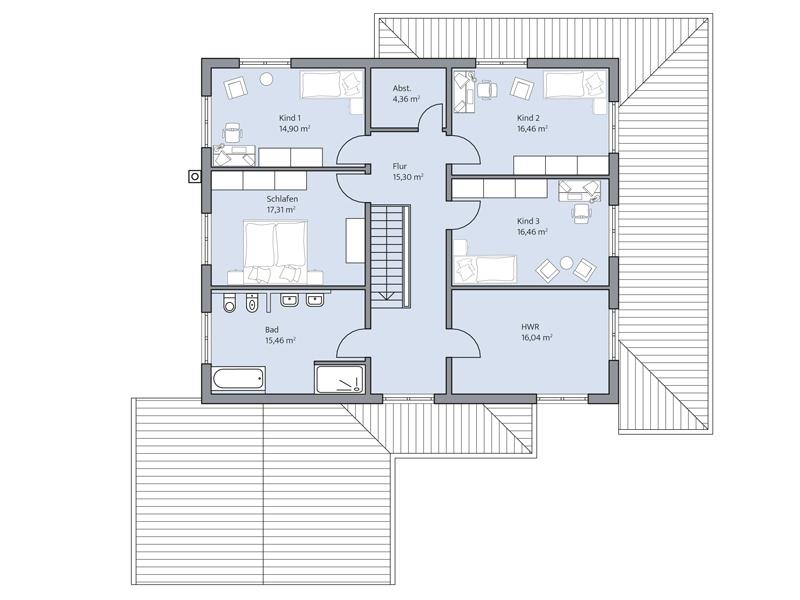 Haus Lehmann von Baumeister-Haus. Grundriss Obergeschoss