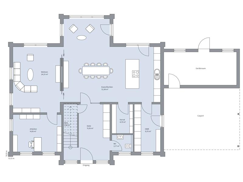 Haus Dorn von Baumeister-Haus. Grundriss Erdgeschoss