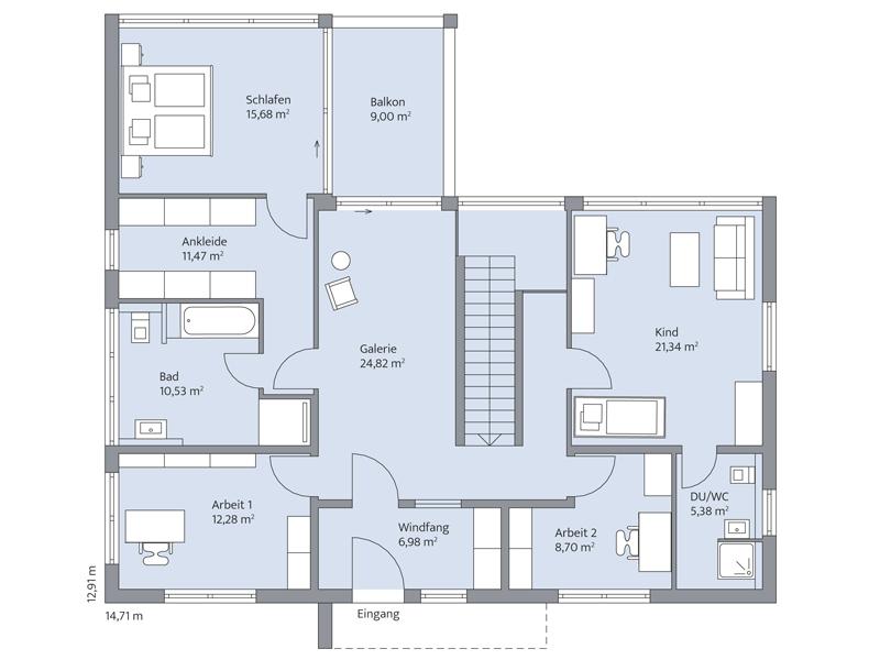 Haus Nolte von Baumeister-Haus. Grundriss Obergeschoss