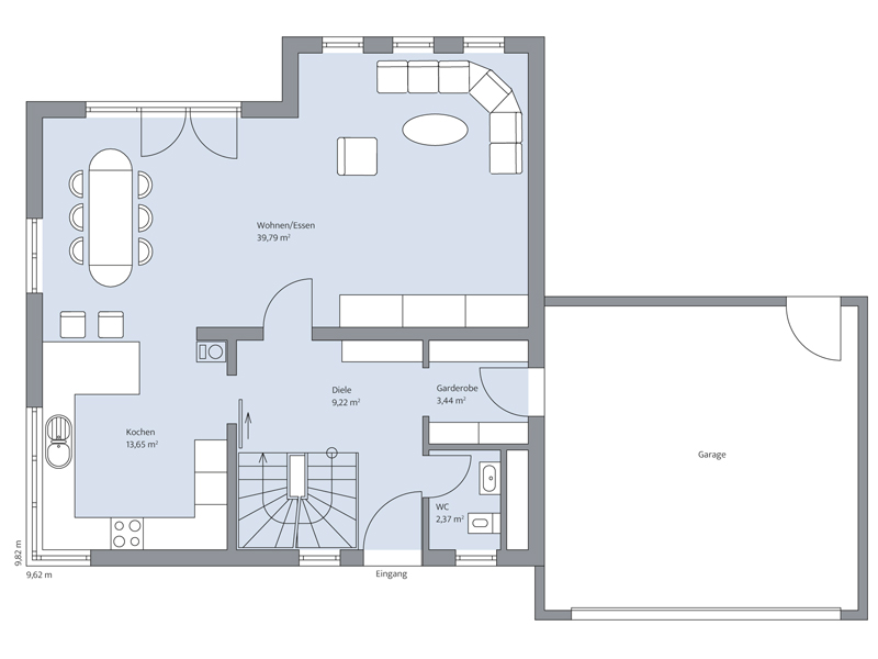 Haus Odenthal von Baumeister-Haus. Grundriss Erdgeschoss