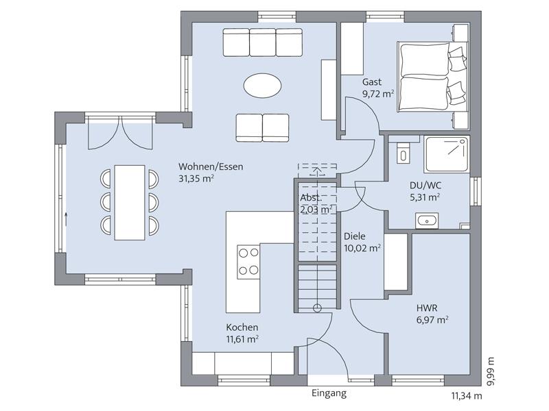 Haus Quistorp von Baumeister-Haus. Grundriss Erdgeschoss