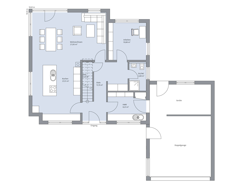 Haus Ückerroth von Baumeister-Haus. Grundriss Erdgeschoss