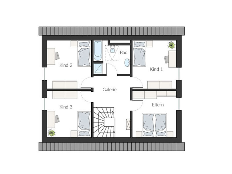 Grundriss Dachgeschoss Entwurf ProFamily 156/20 von Prohaus