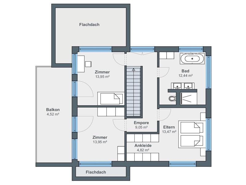Villa Bauhausstil von Weberhaus. Grundriss Obergeschoss